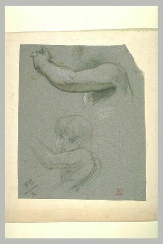 Etude de bras gauche et d'un enfant, vu en buste