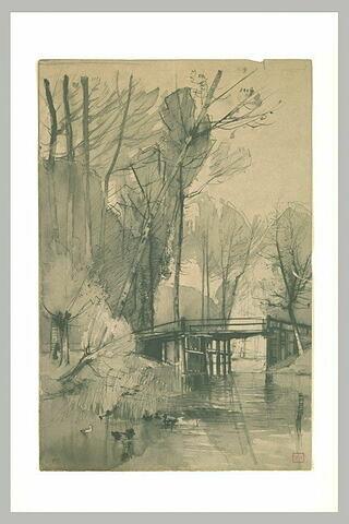 Passerelle traversant un ruisseau, dans un bois