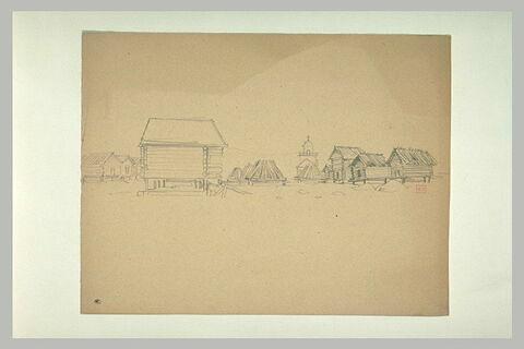 Village de maisons de bois sur pilotis, avec une église