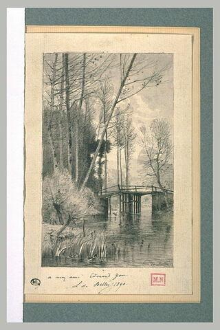 Passerelle franchissant un ruisseau dans un bois