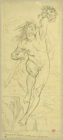 Persée volant dans les airs et brandissant la tête de Méduse