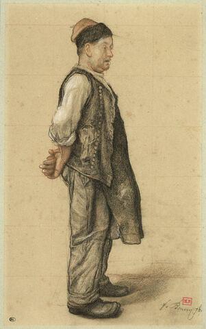 Paysan, coiffé d'un bonnet, en manches de chemise, sa veste sur l'épaule