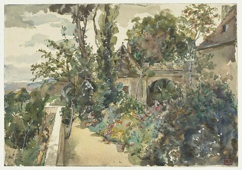 Jardin en terrasse, dominant la campagne