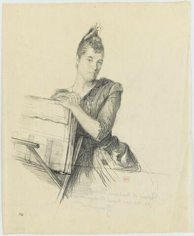 Madame Beraldi, assise, de face, appuyée sur un carton à dessin