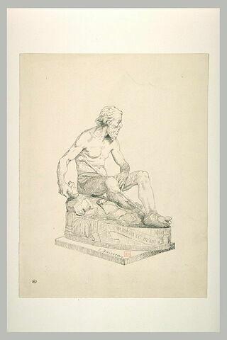 Statue de vieillard assis à terre et tenant une tasse brisée : Diogène