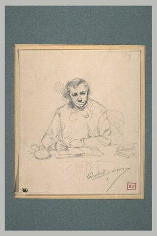 Portrait d'homme écrivant sur une table