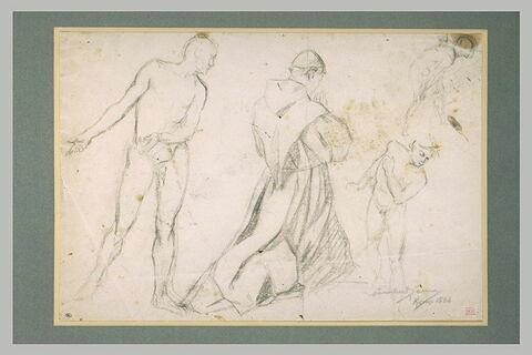 Trois hommes nus, et un religieux à genoux, mains jointes