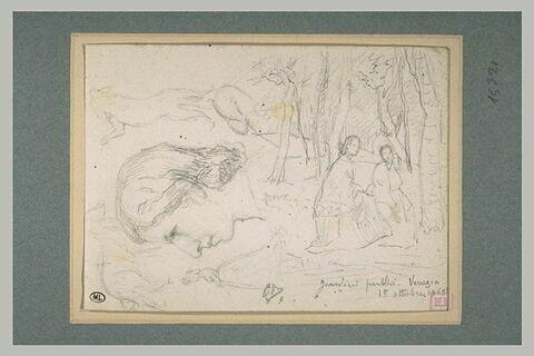 Femme assise dans un bois, têtes de femmes, chiens, et femme debout
