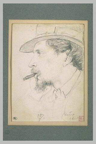 Tête d'homme coiffé d'un chapeau