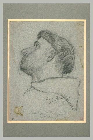Tête de jeune franciscain, de profil à gauche, les yeux levés au ciel
