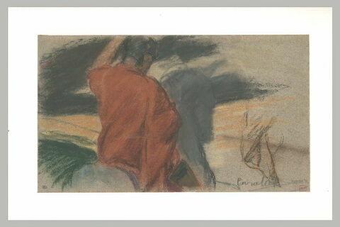 Personnage vu de dos, habillé de rouge, et paysage