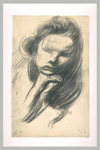 Femme, en buste, de face, échevelée, le menton sur sa main