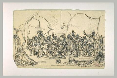 Ripaille de brigands, un pendu, et une femme assise sur le sol