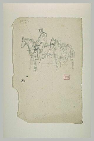 Cheval précédé d'un cavalier se dirigeant vers la gauche
