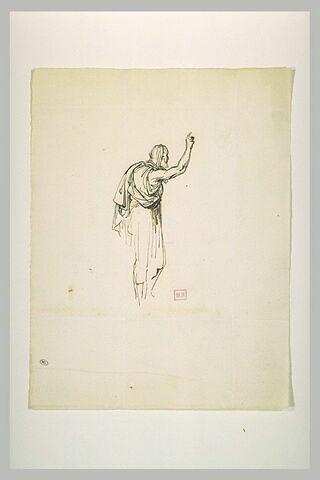 Vieil oriental, debout, de profil vers la droite, levant le bras droit