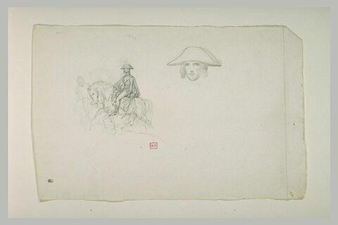 Bonaparte à cheval, de profil, devant un homme et reprise de la tête