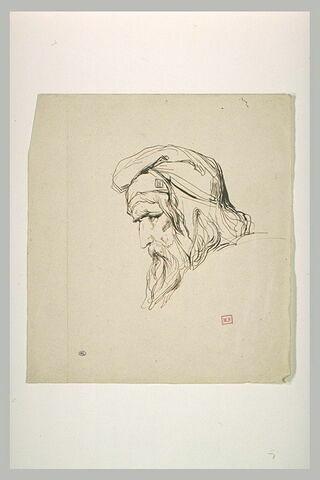 Tête de vieillard, coiffé d'un bonnet phrygien, de profil vers la gauche