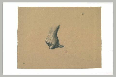 Main droite posée sur le sol, le pouce recourbé