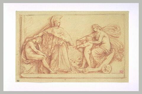 Vénus sur son char, l'Amour et un jeune homme protégé par Minerve
