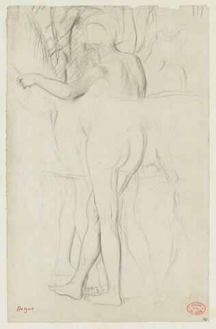 Femme nue tenant les brides d'un cheval
