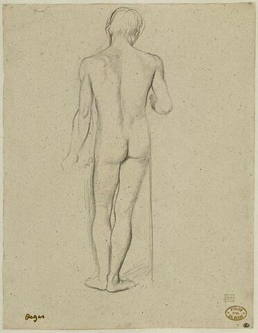 Jeune homme, debout, de dos