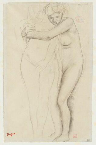 Femme nue, enlaçant une figure à sa droite