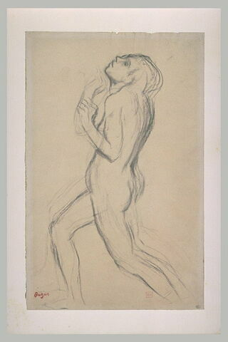 Femme nue courant vers la gauche, la tête rejetée en arrière