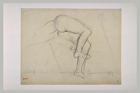 Bassin et jambes d'une figure nue, allongée