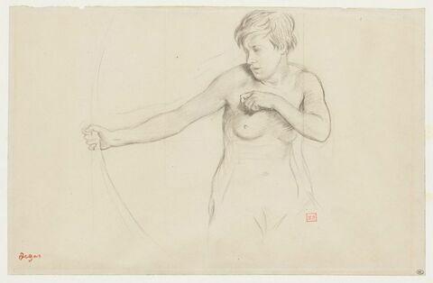 Jeune fille nue, à mi-corps, tirant à l'arc
