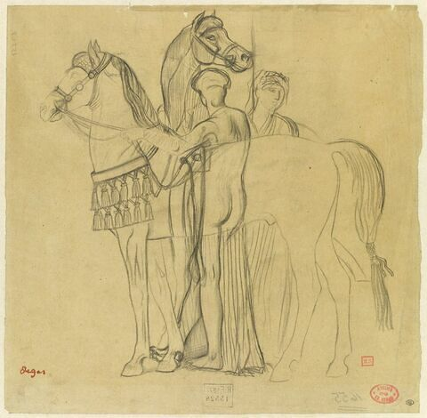 Deux femmes retenant deux chevaux