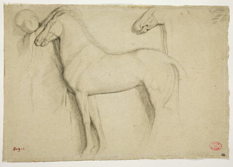 Deux chevaux de profil, vers la gauche, et figure