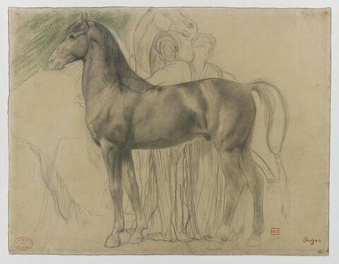 Cheval de profil à gauche et deux femmes retenant un cheval