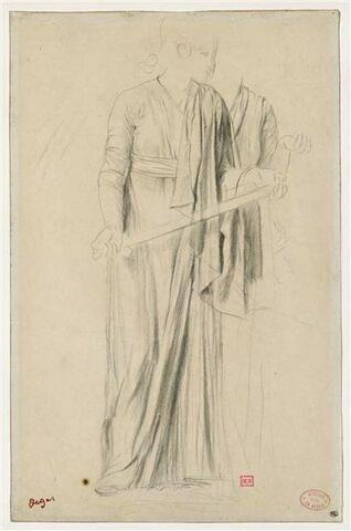 Etude de draperie pour deux femmes debout