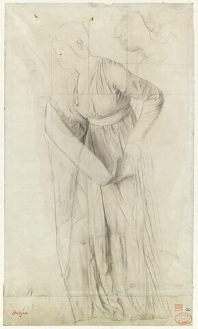 Etude de femme portant une banderole