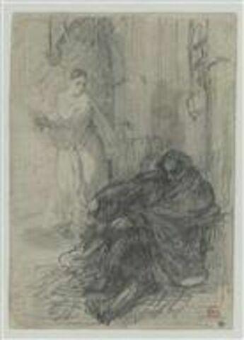 Femme apportant une flamme à un homme assis contre un mur