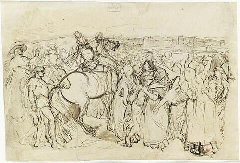 Cortège de femmes et d'enfants à la rencontre d'un seigneur à cheval