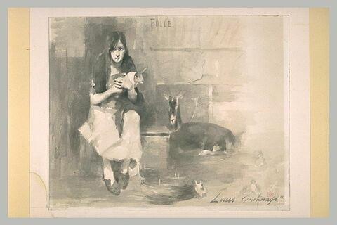 Une folle tenant un lapin, et une chèvre sur la droite