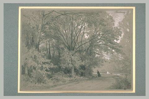 Une route, entre une rivière et un bois, et une femme portant un fagot