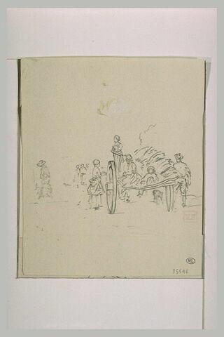 Charrette portant trois paysannes et à l'entour, des paysans