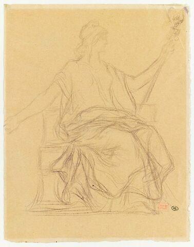 La République coiffée d'un bonnet phrygien, assise, tournée vers la droite