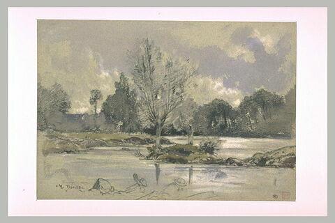 Une rivière, un clos et des arbres