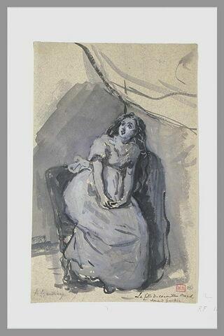 Femme échevelée, le regard fixe, assise, les mains jointes sur le ventre
