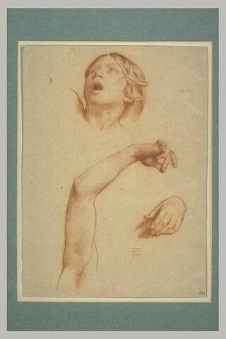 Tête de femme ouvrant la bouche, étude d'un bras droit, et main