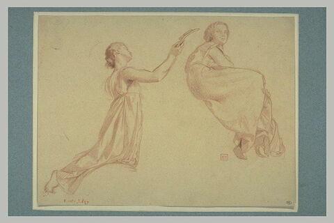 Femme agenouillée, tenant une palme, et autre femme assise