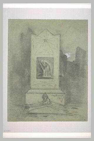 Stèle funéraire dans un cimetière, la nuit