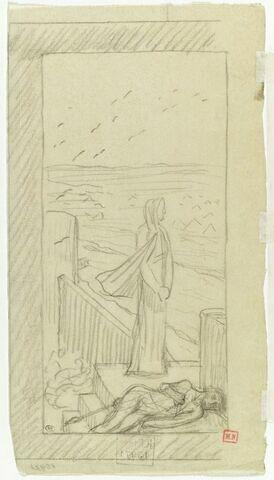 Femme debout sur un chemin de ronde, un homme étendu à ses pieds