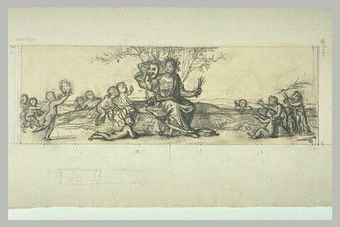 Figure allégorique, assise au pied d'un arbre, tenant un masque de théâtre
