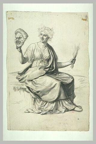 Une figure allégorique tenant un masque de théâtre et une poignée de verges
