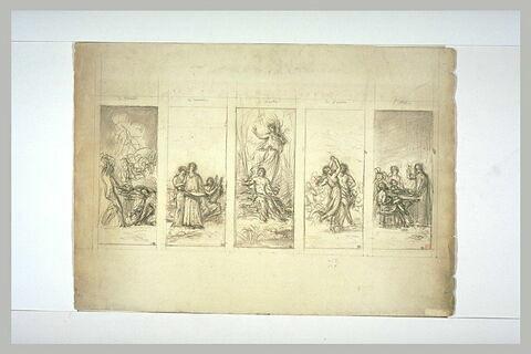 Etude pour cinq panneaux : Musique, Travail, Poésie, Danse et Etude