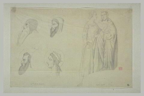 Trois têtes de profil de saints et une de sainte ; deux reines debout
